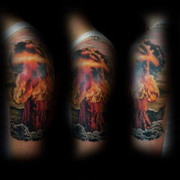 Guy With Half Sleeve Mushroom Cloud Tattoo Design