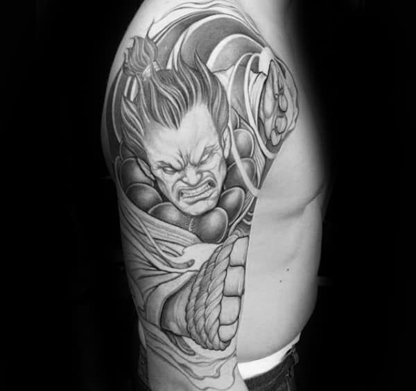 Guy With Half Sleeve Street Fighter Tattoo Design
