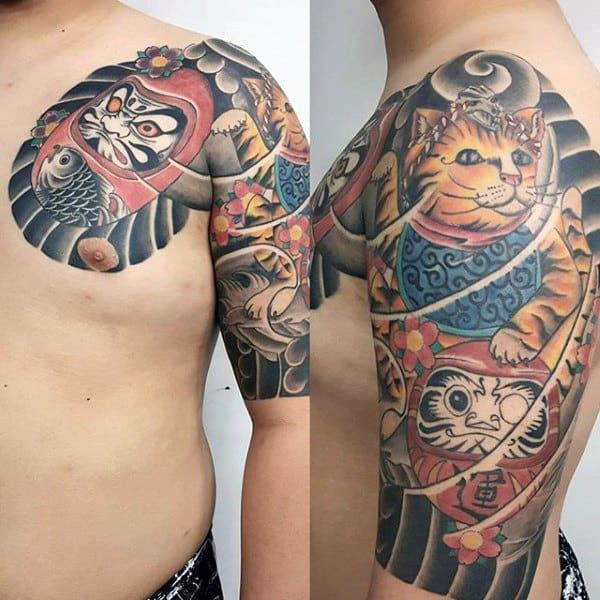 Guy With Half Sleeve Tattoo Of Japanese Daruma Doll Design