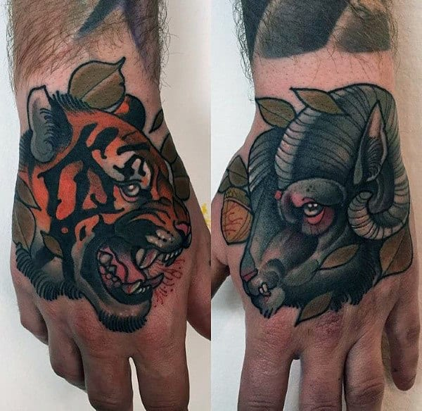 Guy With Hand Tattoos Of Ram And Tiger Neo Traditional Design