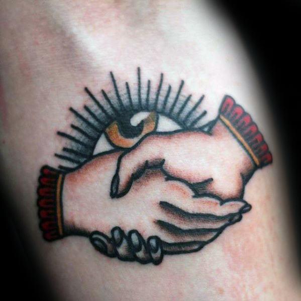 Guy With Handshake Eye Inner Forearm Tattoo Design