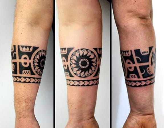 Guy With Hawaiian Armband Tribal Tattoo Design