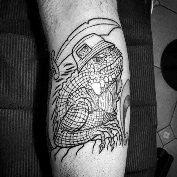 Guy With Iguana Tattoo Design