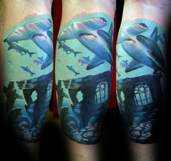 Guy With Incredible Hammerhead Shark Leg Sleeve Tattoo Design