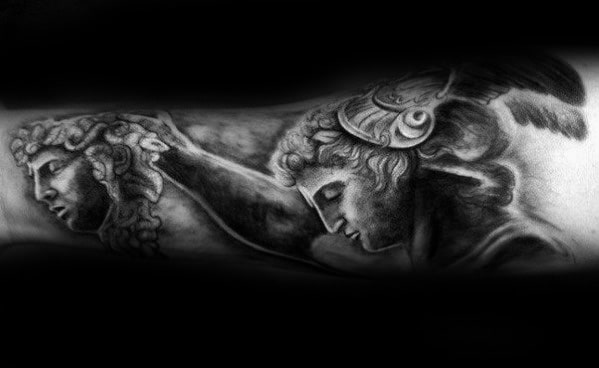 Guy With Inner Forearm 3d Perseus Holding Head Of Medusa Tattoo Design