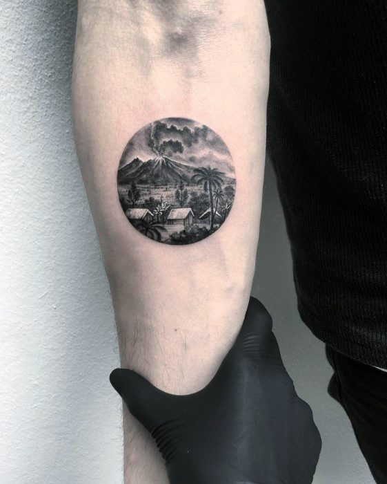 Guy With Inner Forearm Mini Volcano Tattoo Design