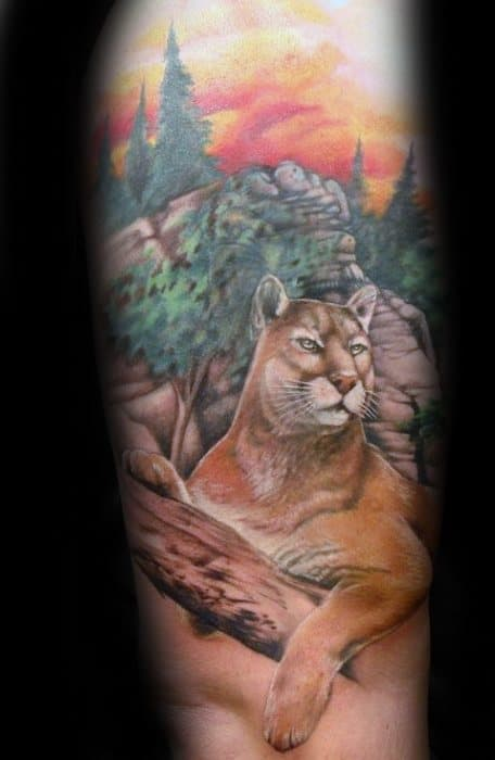 Guy With Inner Forearm Mountain Lion Tattoo Design