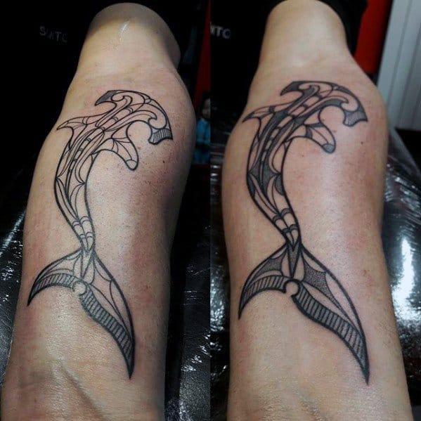 Guy With Inner Forearm Shark Animal Tribal Tattoo Design