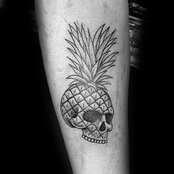 Guy With Inner Forearm Small Skull Pineapple Tattoo Design
