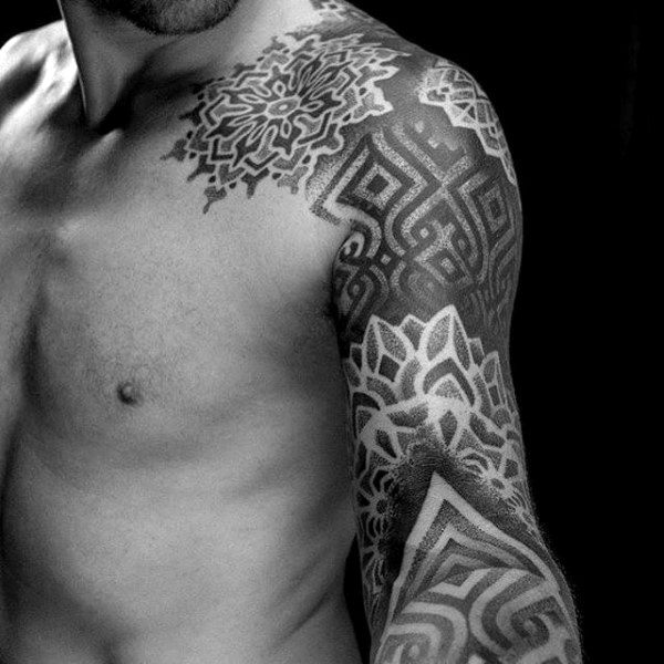 Guy With Intricate Blackwork Geometric Tattoo Sleeve