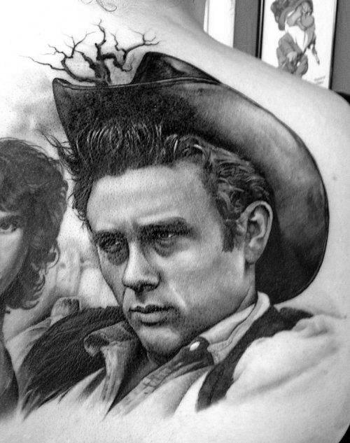 Guy With James Dean Tattoo Design On Shoulder Blade