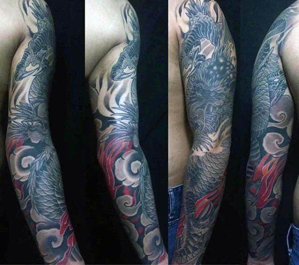 Guy With Japanese Dragon Full Sleeve Tattoo