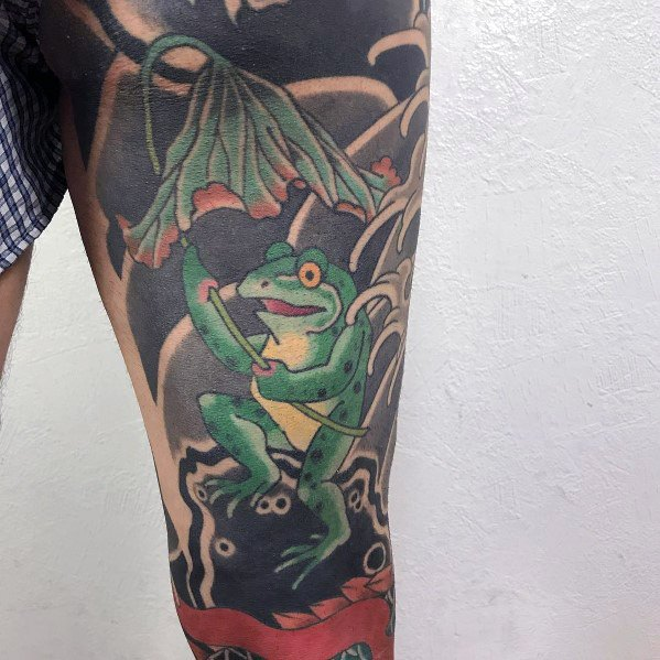Guy With Japanese Frog Tattoo