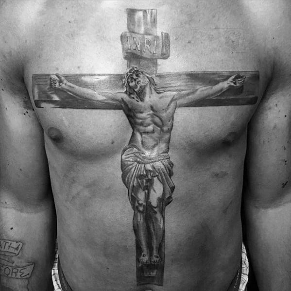 Guy With Jesus On Wood Cross 3d Full Chest Tattoo
