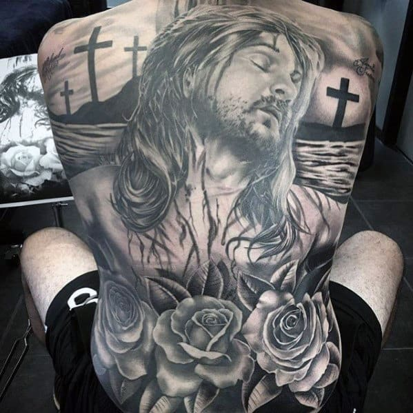 Guy With Jesus Rose Flower Shaded Full Back Tattoo Design