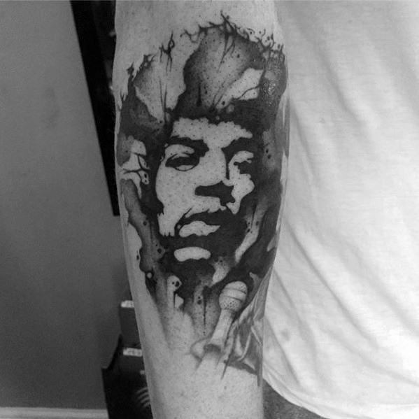 Guy With Jimi Hendrix Watercolor Forearm Tattoo Design
