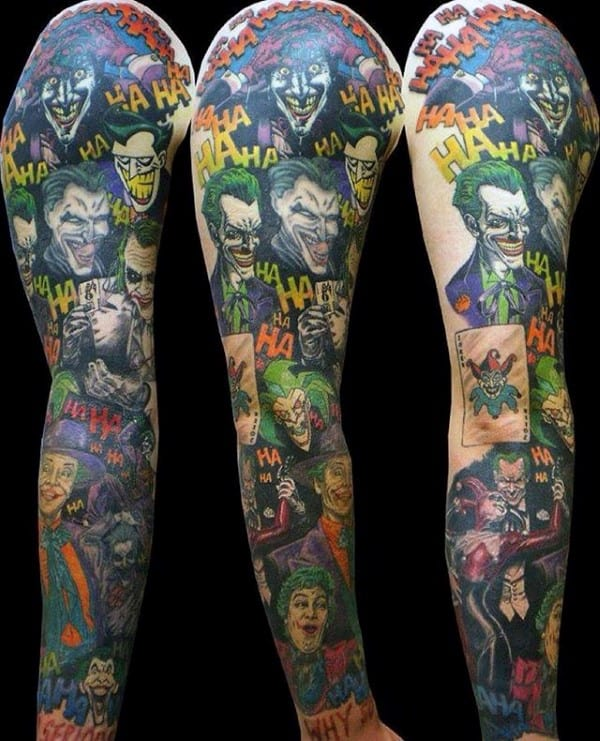 Guy With Joker Themed Tattoo Sleeve Design