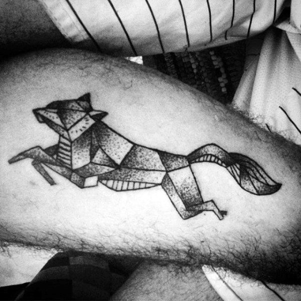 Guy With Jumping Geometric Fox On Forearms