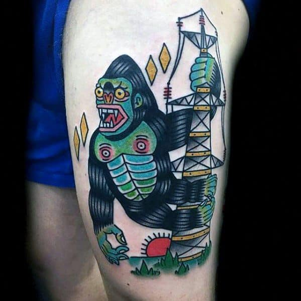 Guy With King Kong Tattoo Design
