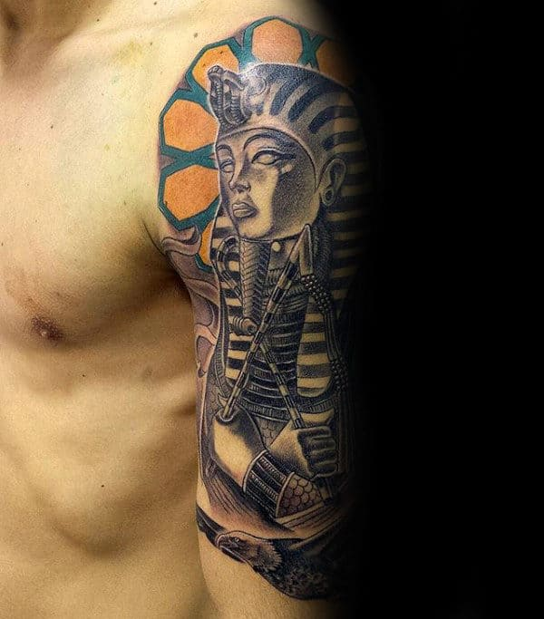 Guy With King Tut Half Sleeve Tattoo