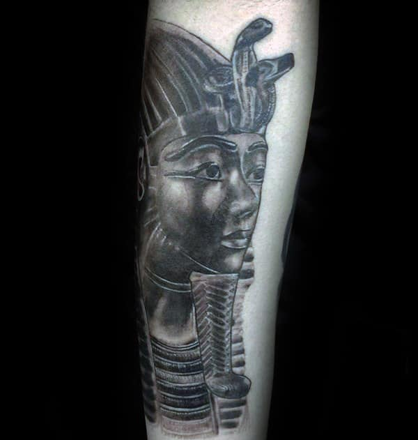 Guy With King Tutankhamun Tattoo On Forearm With Black And Grey Shaded Ink Design