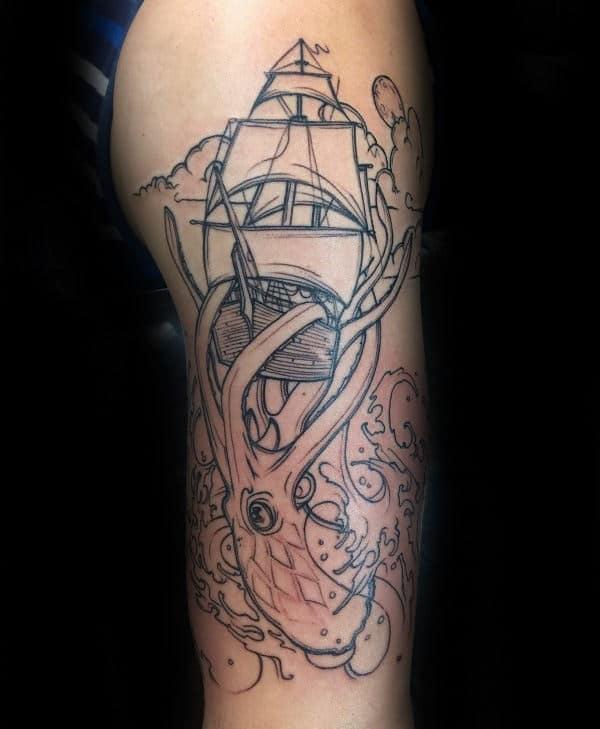 Guy With Kraken Black Ink Outline Arm Tattoo
