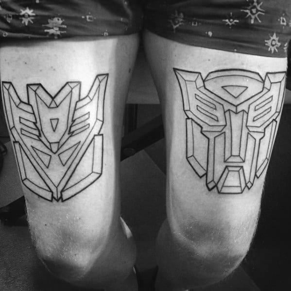 Guy With Leg Calf Black Ink Outline Transformers Tattoos On Thigh