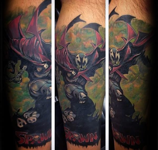 Guy With Leg Sleeve Spawn Themed Tattoo