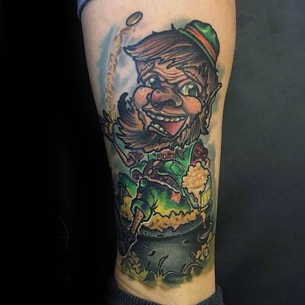 Guy With Leprechaun Tattoo Design