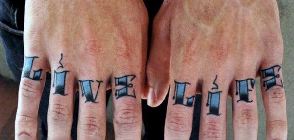 Guy With Live Lite Knuckle Tattoo Design