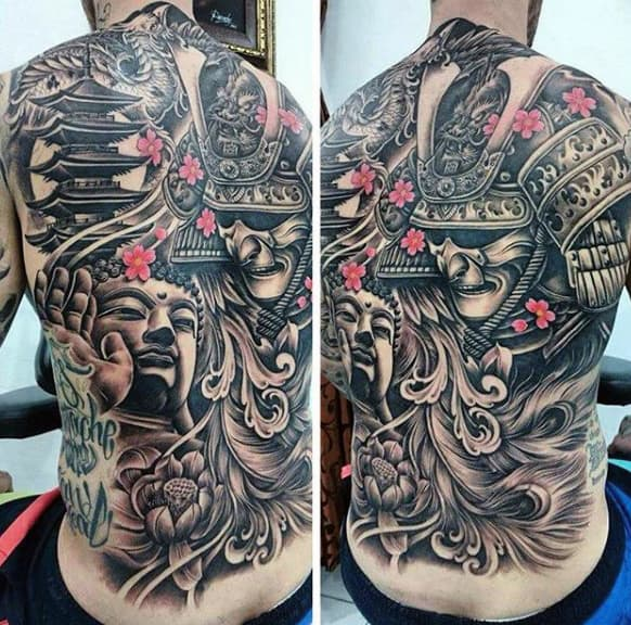 Guy With Lovely Oriental Themed Buddha And Warrior Tattoo On Full Back
