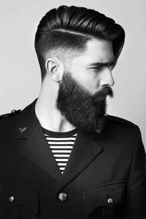 Guy With Low Fade And Long Length Hard Part Hair