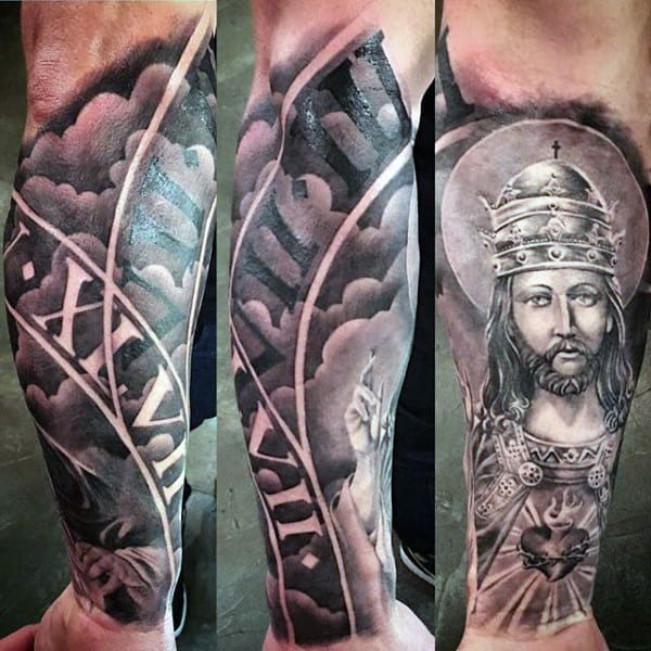 Guy With Majestic King And Cool Heart Pendant Tattoo Full Sleeves