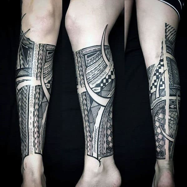 Guy With Manly Polynesian Leg Sleeve Tattoo