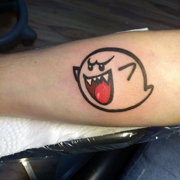 Guy With Mario Ghost Tattoo