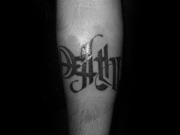 Guy With Masculine Life Death Word Ambigram Tattoo Around Forearm
