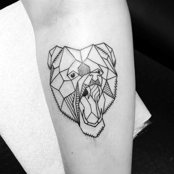 Guy With Masculine Outline Geometric Bear Forearm Tattoo