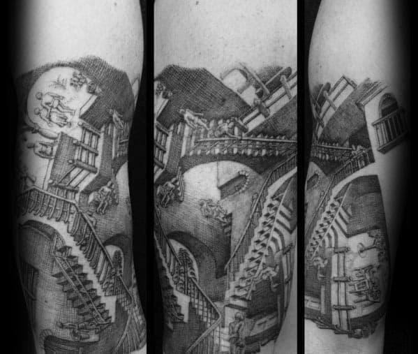 Guy With Mc Escher Tattoo Design