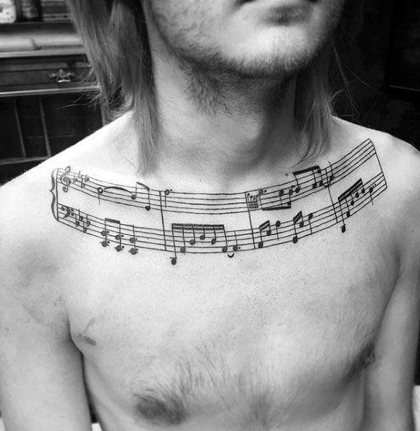 50 music staff tattoo designs for men musical pitch ink for Collar bone tattoos guys