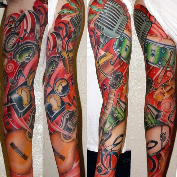 Guy With Musical Themed Full Sleeve Tattoo Design