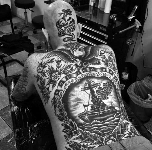 50 traditional back tattoo design ideas for men old for Traditional navy tattoos