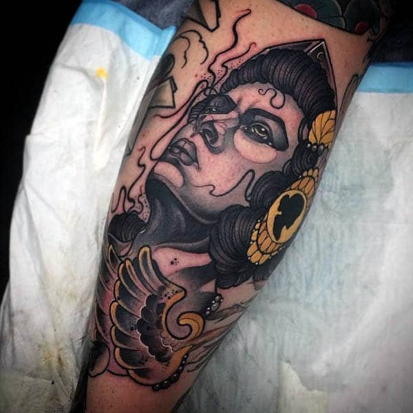 Guy With Neo Traditional Face Tattoo Mens Forearms