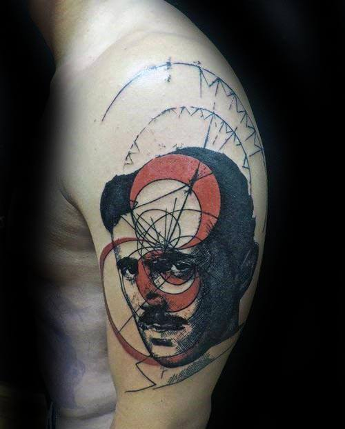 Guy With Nikola Tesla Tattoo Design
