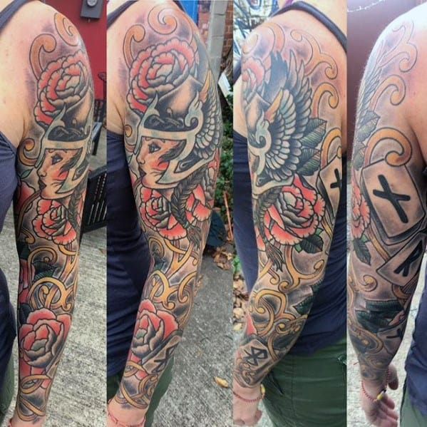 Guy With Norse Valkyrie Tattoo Design Full Arm