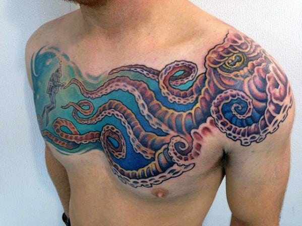 Guy With Octopus And Diver Underwater Upper Chest And Shoulder Tattoo