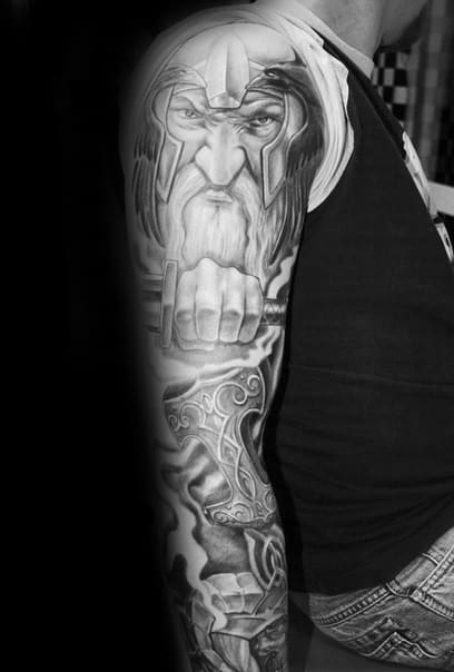 Guy With Odin Norse Full Sleeve Tattoo