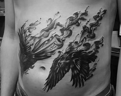 Guy With Odins Ravens Tattoo Design