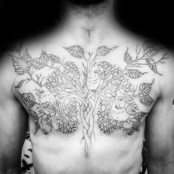 Guy With Optical Illusion Lung Tree Tattoo Design On Upper Chest