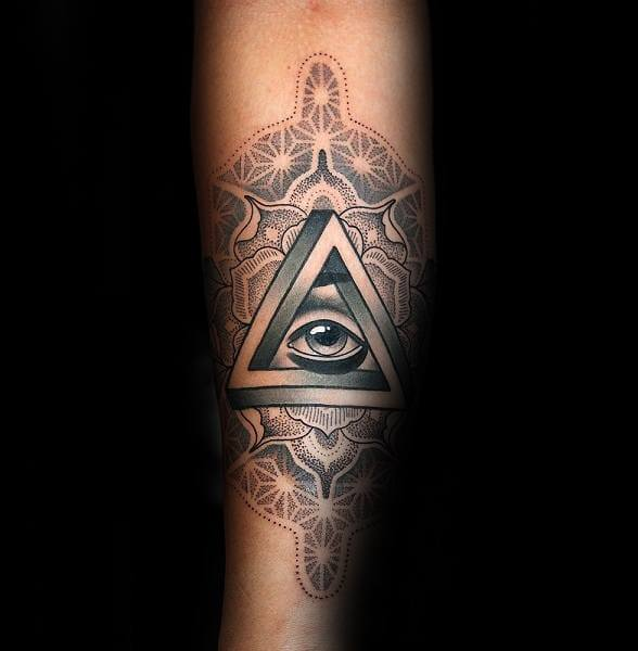 Guy With Ornate Eye Penrose Triangle Tattoo Design On Forearm