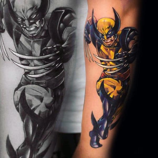 Guy With Outer Forearm Tattoo Of Wolverine
